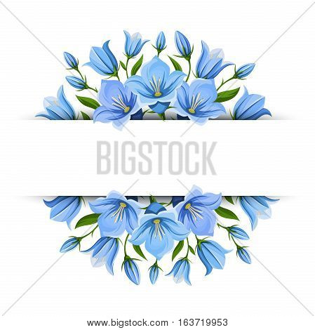 Vector background banner with blue bluebell flowers.