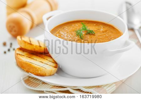Cream soup made of lentil and vegetables healthy food