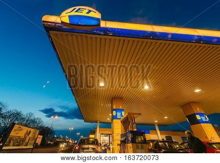 Pov Point Of View Of Driver Arriving At Jet Tankstellen Fuel Station