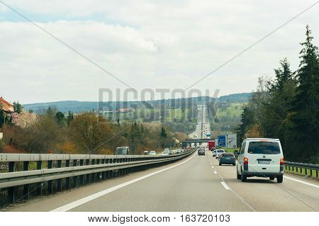 Pov Point Of View Of Cars On Autobahn Highway