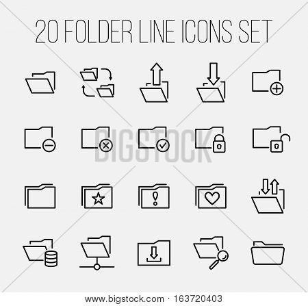 Set of folder icons in modern thin line style. High quality black outline repository symbols for web site design and mobile apps. Simple linear folder pictograms on a white background.
