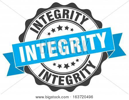 integrity. stamp. sign. seal. round. retro. ribbon