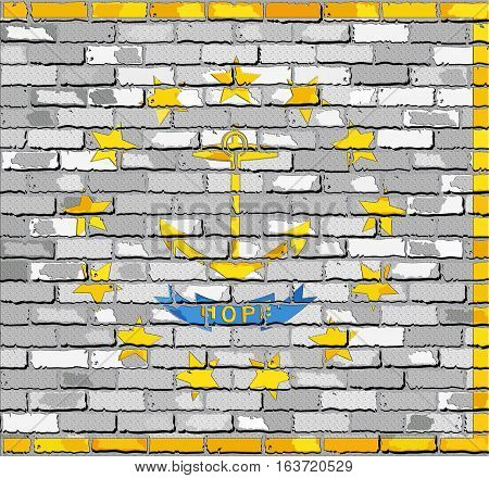 Flag of Rhode Island on a brick wall with effect - 3D Illustration,  The flag of the state of Rhode Island on brick background,  Rhode Island flag in brick style