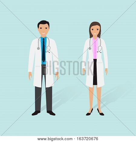 Hospital staff concept. Couple of male and female doctors on a white background. Medical people. Flat style vector illustration.