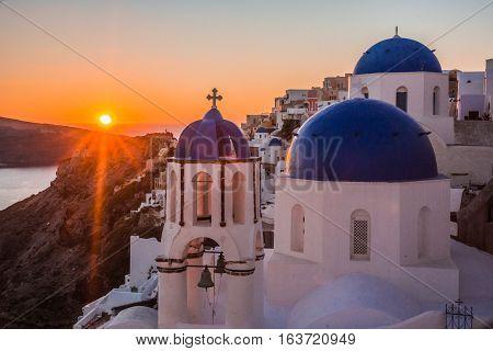 Blue Dome Of White Church In Oia, Santorini, Greece