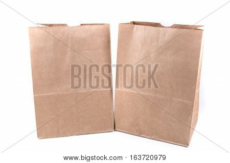 Plain Brown Paper Shopping Bag Isolated On A White Background