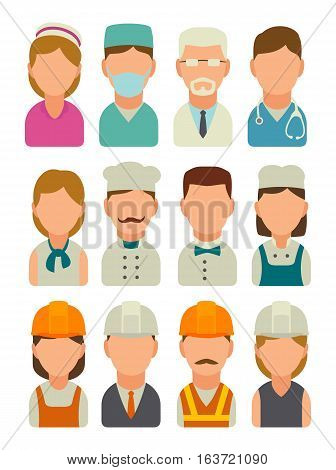 Set icon character cook builder and medical people. Vector flat illustration isolated on white background.