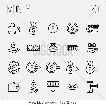 Set of money icons in modern thin line style. High quality black outline finance symbols for web site design and mobile apps. Simple linear money pictograms on a white background.