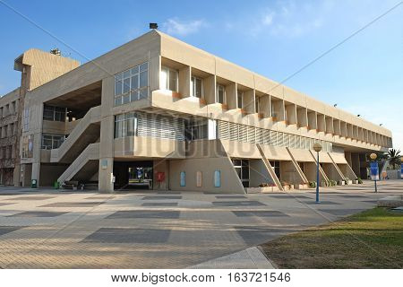 BEER SHEVA ISRAEL - DECEMBER 24 2016: Training building of Ben Gurion University in Beer Sheva. Architectural style brutalism