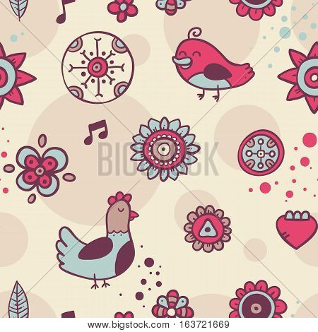 Cute Seamless Pattern With Birds And Flowers On Beige Background. Eps-10 Vector