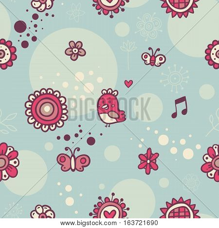 Cute Seamless Pattern With Birds And Flowers On Cyan Background. Eps-10 Vector