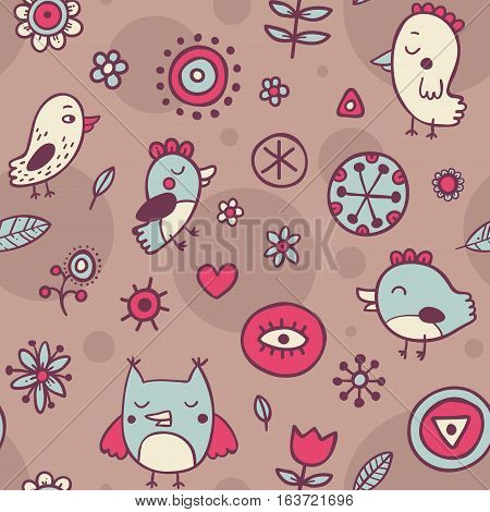 Cute Seamless Pattern With Birds And Flowers On Brown Background. Eps-10 Vector