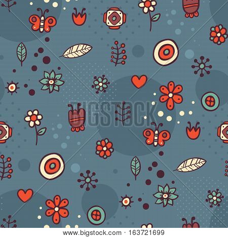 Cute Seamless Pattern With Flowers And Abstract Elements On Dark Blue Background. Eps-10 Vector