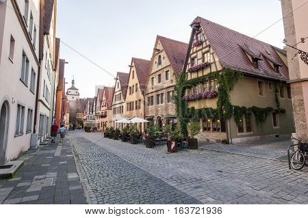 Town Rothenburg ob der Tauber a town in the district of Ansbach of Mittelfranken (Middle Franconia) the Franconia region of Bavaria Germany.