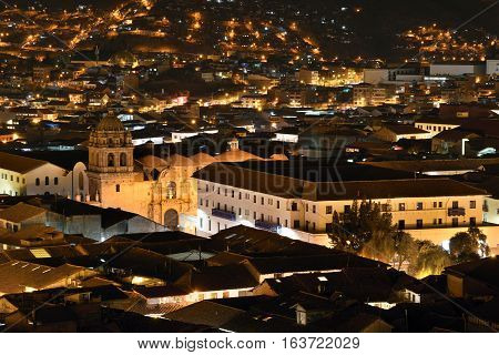 CUSCO PERU - August 31 2016: Night view of Cusco Peru on August 31 2016. In 1983 Cusco was declared a World Heritage Site by UNESCO.