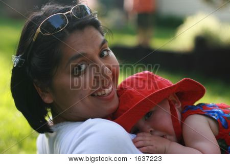Woman Outside With Baby