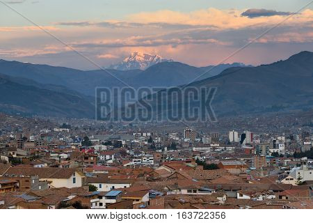 CUSCO PERU - August 31 2016: Panorama of Cusco at sunset Peru on August 31 2016. In 1983 Cusco was declared a World Heritage Site by UNESCO.