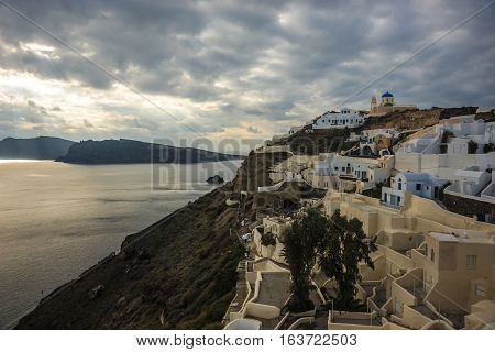 White City On A Slope Of A Hill In Oia, Santorini, Greece