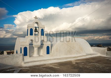 White And Blue Church In Oia, Santorini, Greece
