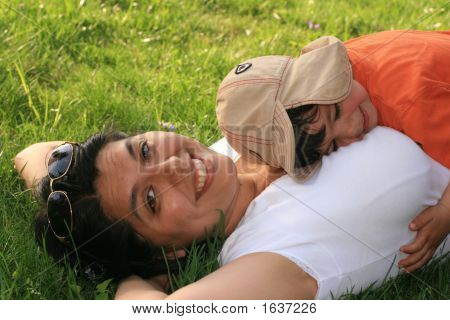 Woman Outside With Baby Boy