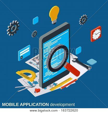 Mobile application development, program coding, algorithm optimization flat isometric vector concept illustration