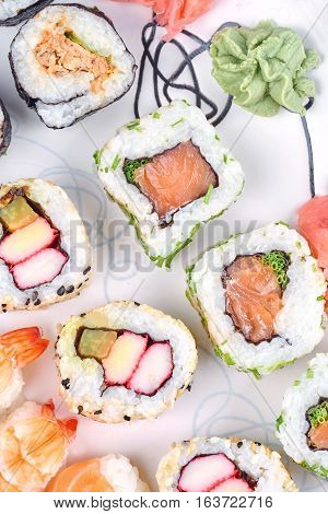 A sushi set on a white table