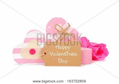 Happy Valentines Day Gift Tag With Rustic Pink Heart Shaped Gift Boxes Isolated On A White Backgroun
