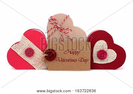 Happy Valentines Day Gift Tag With Rustic Heart Shaped Gift Boxes Isolated On White