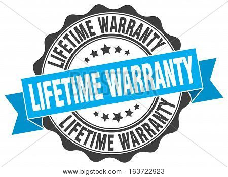 lifetime warranty. stamp. sign. seal. round. retro. ribbon poster