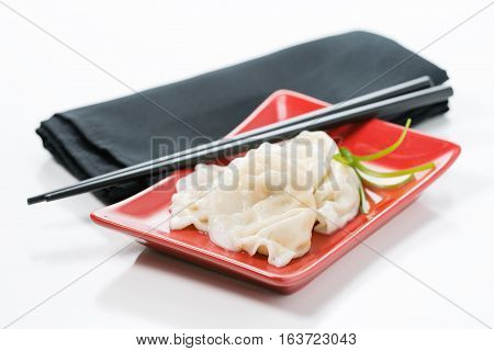 Plate of delicious steamed vegetable chinese dumplings on a red plate.