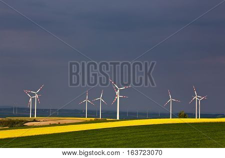 Green And Yellow Fields With Wind Turbines Generating Electricity
