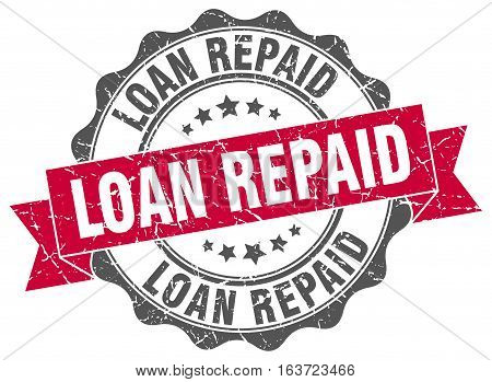 loan repaid. stamp. sign. seal. round. retro. ribbon
