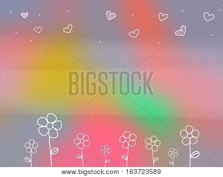 Rainbow colorful flower and heart watercolor painting background illustration