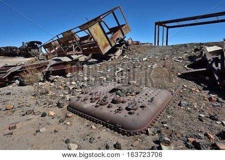 Graveyard of rusty old trains in the desert of Uyuni Bolivia South America