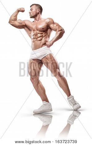 Muscular Bodybuilder Front Biceps Posing