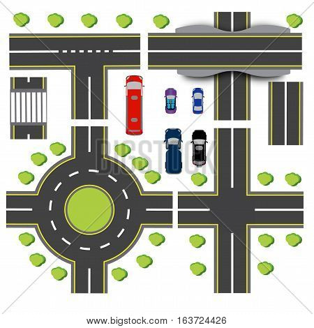 Set design of transport interchanges. Intersections of different highway. Roundabout Circulation. Transport. Bridge. Vector illustration