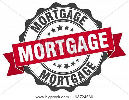 mortgage. stamp. sign. seal. round. retro. ribbon