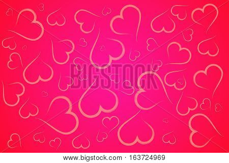 Red and pink hearts illustration background abstract