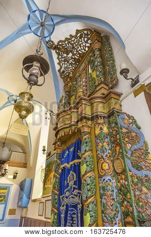 SAFED, ISRAEL - NOVEMBER 21, 2016 Torah Ark Ashkenazi Ari Synagogue Safed Tsefat Israel Synagogue. Created by famous Kabbala Rabbi Issac Luria in the 1500s