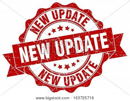 new update. stamp. sign. seal. round. retro. ribbon