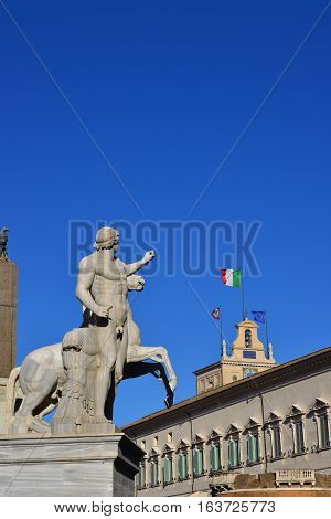 Quirinal Hill with Horse Tamers ancient roman statue and President of Italian Republic official residence in Rome (with copy space)