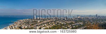 Panoramic view of the Mediterranean sea Haifa Bay and Bat Galim neighborhood from slopes of Mount Carmel Stella Maris in Haifa Israel