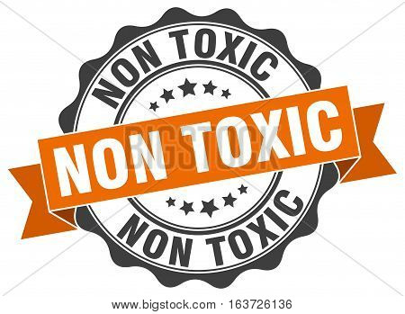 non toxic. stamp. sign. seal. round. retro. ribbon