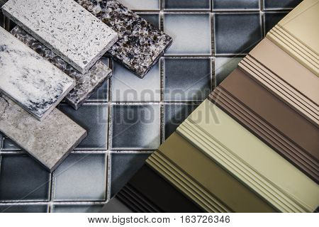 Bathroom remodel selection of cabinet counters and floor tiles