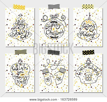 Christmas Holidays Vector Set of Hand Drawn Greeting Card. Happy New Year Concept Design Kit for different projects.