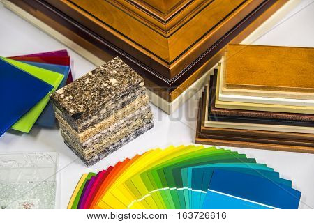 Luxury material selection of elegant bathroom door, cabinet, vanity tops, glass and wall paint