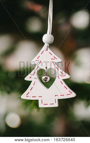 Christmas Decoration Ornament On Green Xmas Pine Tree.