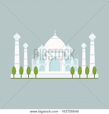 Cathedral or church temple building landmark tourism vector. World religion historic buddhist traditional city architecture. Worship palace monument.