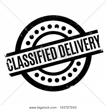 Classified Delivery rubber stamp. Grunge design with dust scratches. Effects can be easily removed for a clean, crisp look. Color is easily changed.