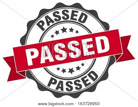 passed. stamp. sign. seal. round. retro. ribbon
